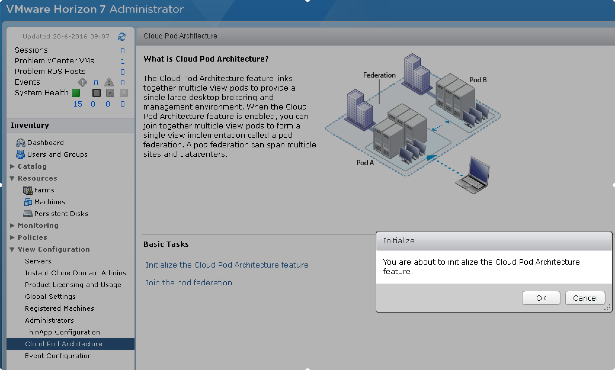 Setting up a vmware cloud pod with horizon for Horizon 7 architecture