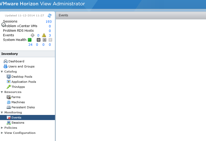 VMware View event database slowness