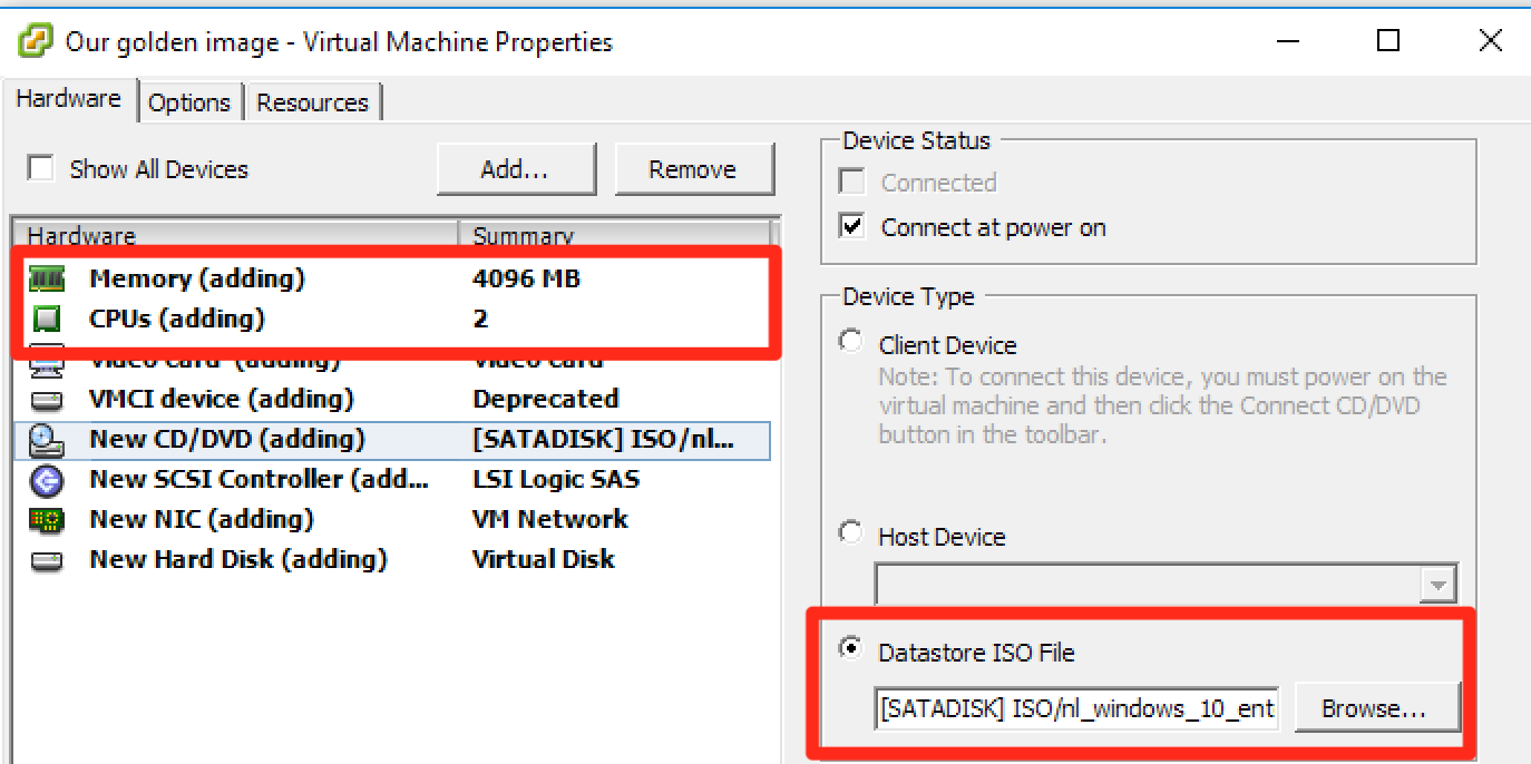 Tuning Microsoft Windows 10 for VDI – Part 1, creating the virtual machine